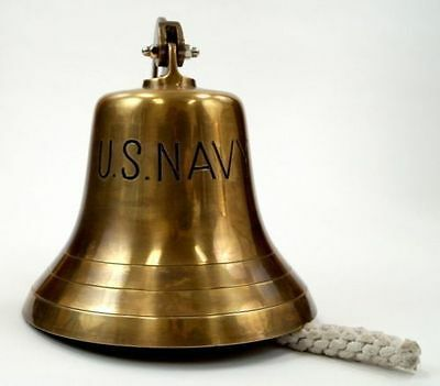 Antque Brass US NAVY Hanging Bell>~mm