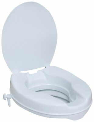 Portable Elevated Toilet Seat with Lid Handicap Elderly Bathroom Safety 100mm