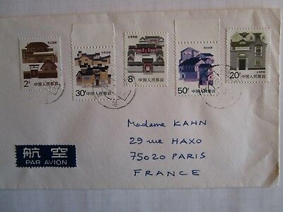 Timbres Chine Stamps China enveloppe cover Beijing-Paris année 1987