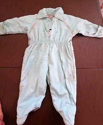 Vintage Infant Snowsuit - Pale Green with Embroidered Snowman - 1950s Baby