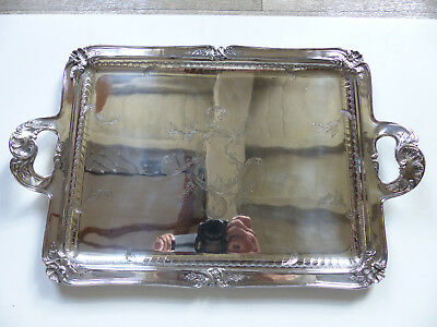 SUPERB ANTIQUE CHRISTOFLE SILVERPLATED ENGRAVED SERVING TRAY w. HANDLES 1920's