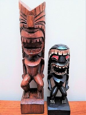 Set Of 2 Tiki Tribal Men Statues Carved Hawaiian Wood Carving Ornaments  Bali