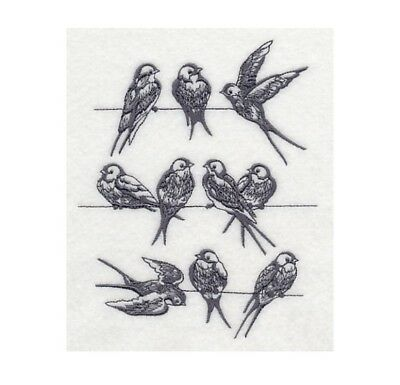 Completed Machine Embroidered Swallows