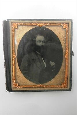 Antique Victorian Ambrotype Photo Proud Gentleman With Big Beard & Whiskers