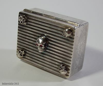 Unique Antique French Silver Pill/poison Box-Memento Mori Skulls-Circa 1900