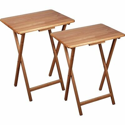 Natural Wood Folding TV Tray Tables 2 Piece Set Game Laptop Serving Snack  Table