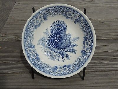 Queens Myott Thanksgiving Soup Cereal Bowl Turkey Blue Excellent
