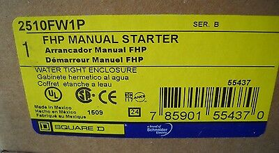 Square D 2510FW1P fhp manual starter with pilot, Nema 4, 4x water tight, NIB