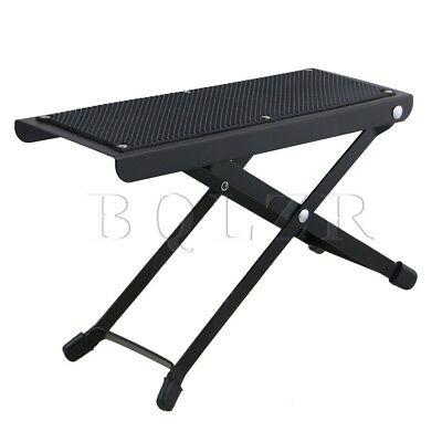 BQLZR Black Metal 6-Position Adjustable Height Foldable Guitar Pedal Foot Rest