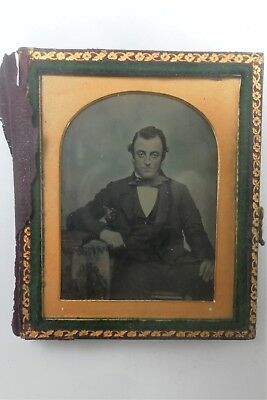 Antique Victorian Ambrotype Photograph Seated Young Gentleman  Half Smilling