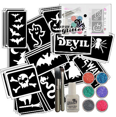 60 STENCIL HALLOWEEN GLITTER TATTOO KIT - GREAT VALUE 6 Glitters, Glue & Brushes