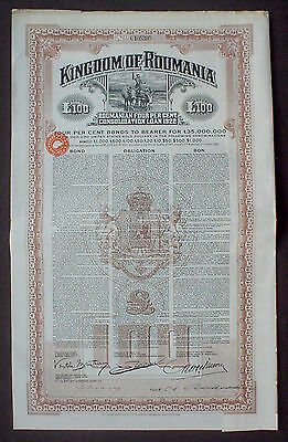 Kingdom of Romania 7% 100 P. Sterling Gold Bond 1922 uncancelled + coupons