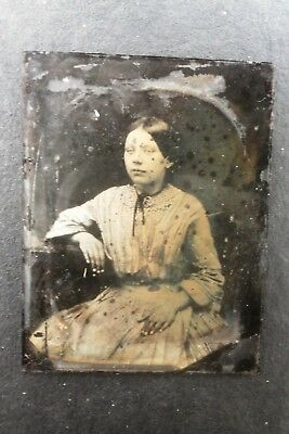 Antique Victorian Ambrotype Photograph On Glass No Case Miserable Young Woman
