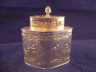 Antique 19th Century German Repousee Solid Silver Tea Caddy Marked 'B' Cherubs