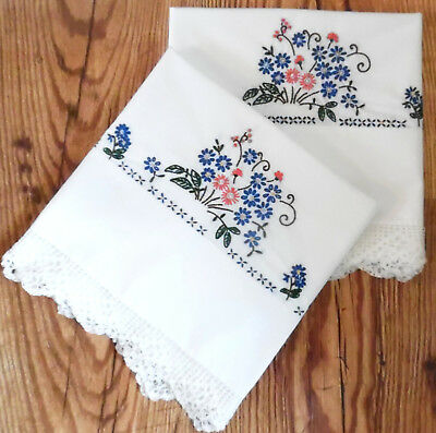Vintage Embroidered Pillowcases (LARGE KING SIZE) Flowers Embroidery