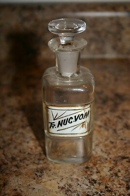 Antique 1800S Apothecary Pharmacy Bottle Tr Nuc Vol Label Under Glass Lug-Stoppr