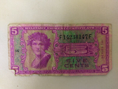 UNITED STATES Military Payment Certificate 5 Cents - 1958