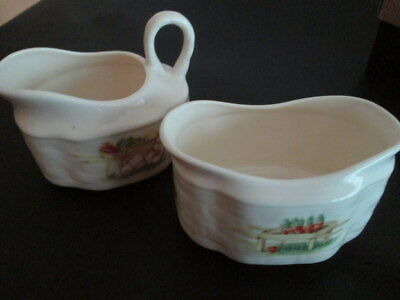 Aynesley Edwardian Kitchen Garden Cream Jug & Sugar Bowl Strawberry