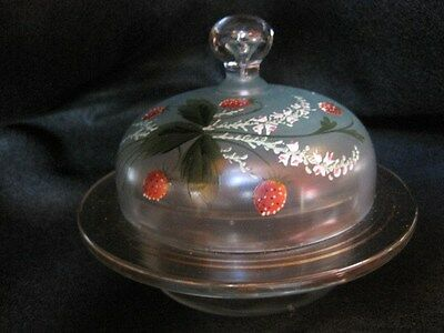 Rare Antique Vintage Hand-Painted Glass Butter/Cheese/Candy Dish with Cover~Old!