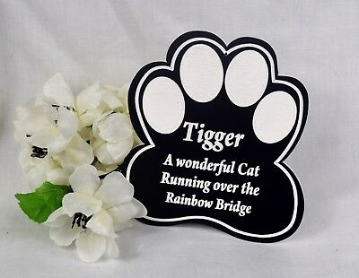 Personalised Engraved Pet memorial Plaque. Cat, Dog, Paw Print
