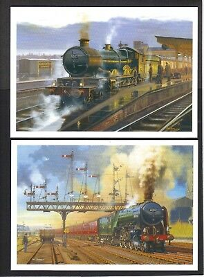 Full set of eight Eric Bottomley oil paintings of Steam Trains in action