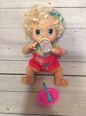 My Baby Alive Doll- Eats/Drinks/Pees With Dress, Bib, Bottle, Dish, Spoon!
