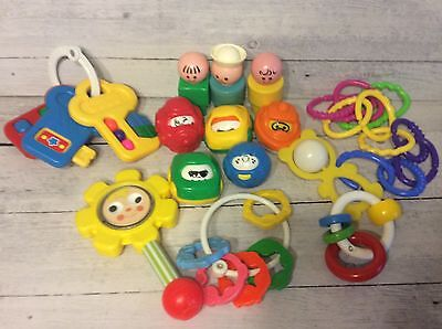 Fisher Price Vintage Baby Toy Lot - Daisy Rattle, Key Teething Ring, Rollarounds