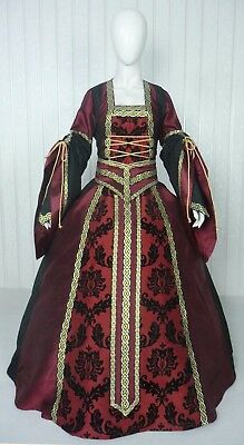 Medieval Renaissance Tudor Wedding Handfasting Larp Gown Dress Costume (25F)