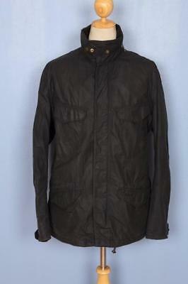 Mens BARBOUR Fitted WAXED Jacket Navy Size XL