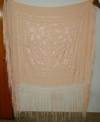 Antique Beautiful Chinese Hand Embroidered Silk Piano Shawl Ps159