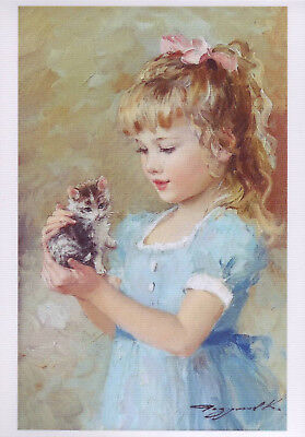 KIDS ART ~ LITTLE GIRL KITTEN Cat Hug Friends Pink bow Razumov Modern Postcard