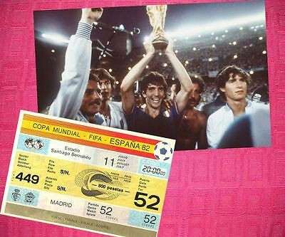 Italy 1982 World Cup Champions Photo + Ticket Set Rossi