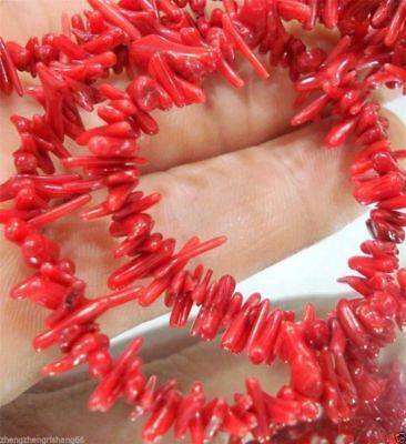 Natural Red Coral Gemstone Chip Loose Beads 15""
