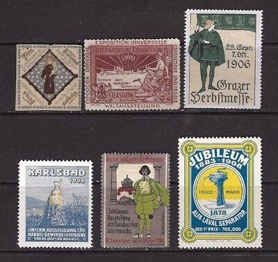 Cinderella Stamps x 6 From 1895 to 1908 .