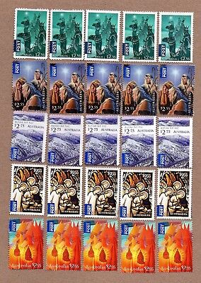 Australia International Post Unfranked Stamps, All Off Paper, No Gum. F/V $50