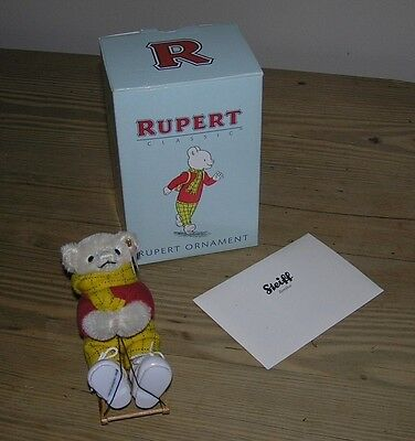 Rare Vintage Steiff Limited Edition Rupert Bear Ornament With Certificate