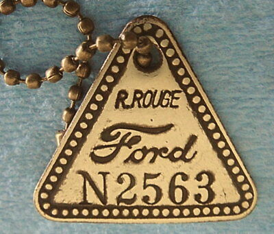 Antique Tool Check Brass Tag: FORD RIVER ROUGE; Pre-1928 Historic Auto Factory