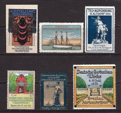 Cinderella Stamps x 6 From 1910 to 1913 .
