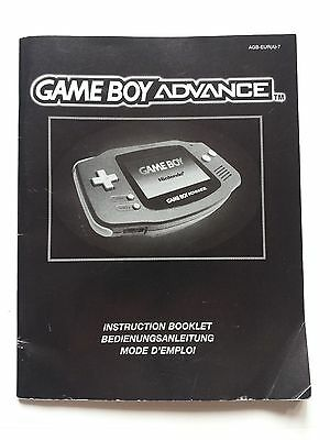 Nintendo Gameboy Advance Instruction Booklet