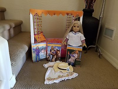American Girl Doll Julie With Canopy Bed Plus Dress With Hat And Books
