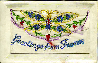 1914-18 Ww1 Embroidered Silk Butterfly Postcard 'greetings From France' + Pocket