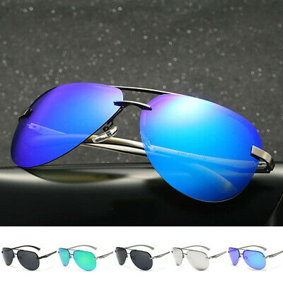 Men Women Vintage Retro Aviator Sunglasses Mirrored Polarized Lens Metal Frame