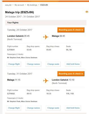 easyJet flights x2 to Malaga Tues 24th - Tue 31st Oct £375 - Cost me £660.
