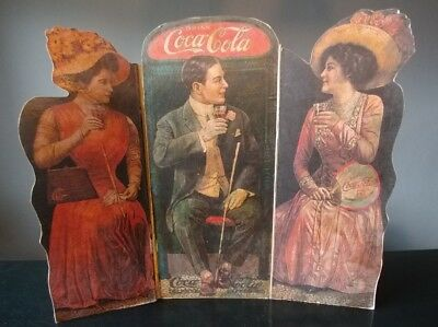 "Vintage Coca Cola Cardboard Cut Outwindow Display Sign. 1909 Scene. 16""×17"""