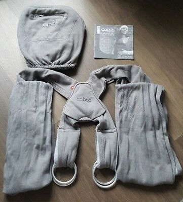 Close Caboo + Baby Carrier Organic Cotton Fabric Sling Grey with Instructions