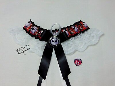 Jack and sally DC Comics Lace Bridal Wedding Garter . nightmare before christmas