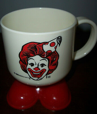 1985 White Plastic Ronald Mcdonald Mug With Red Feet
