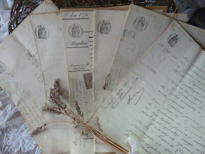 One Period Legal French Document Dated Late 1800's, Hand Written On Parchment