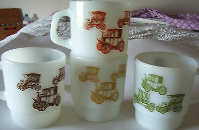 Lot Of 4 Stacking D Handle Coffee Mugs - Anchor Hocking - Fire King - Old Cars
