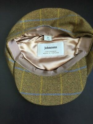 100% Cashmere Mens Medium check Cap from Johnstons of Elgin